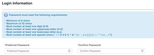 Password setup