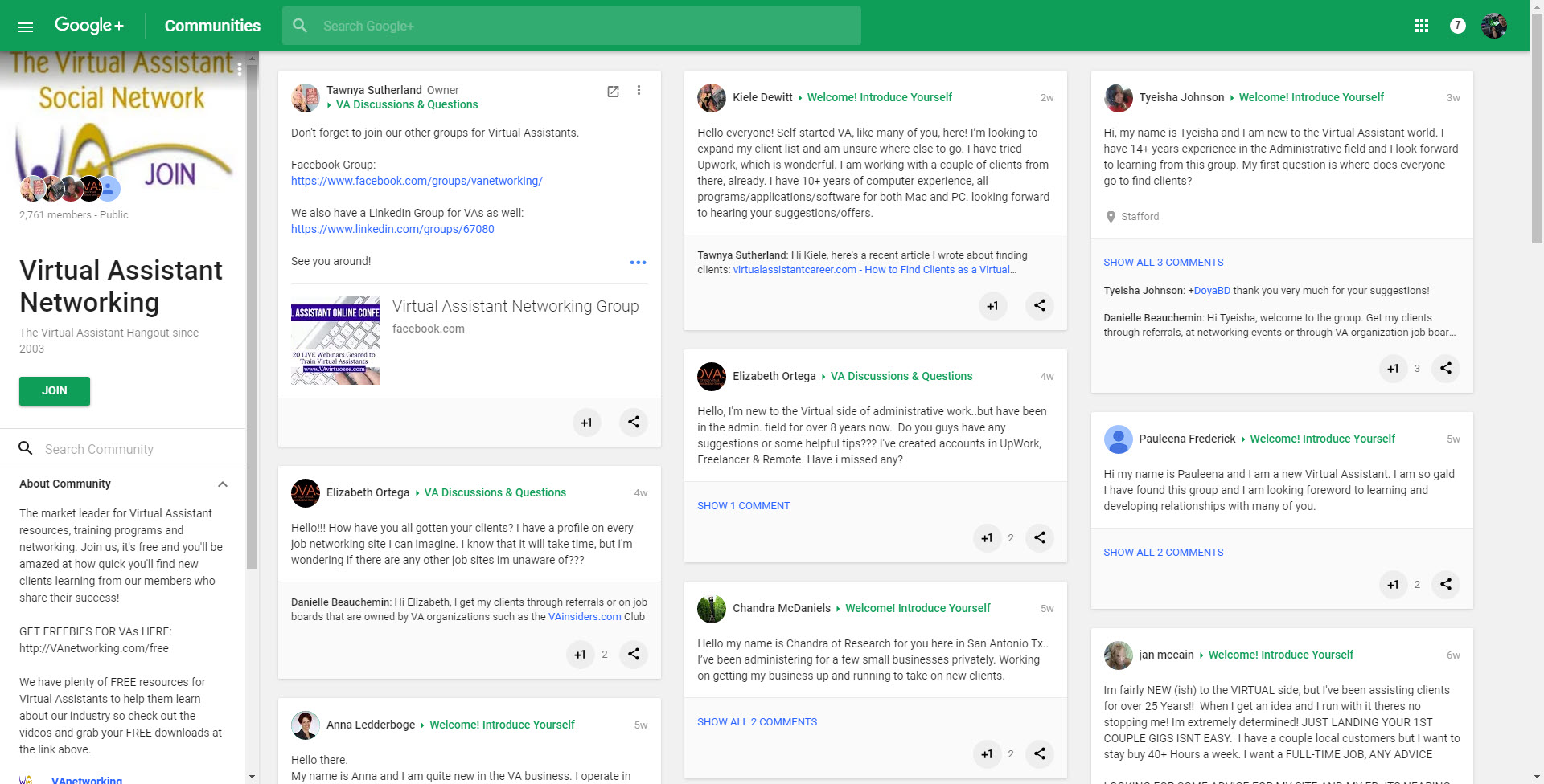 Virtual Assistants community on Google Plus